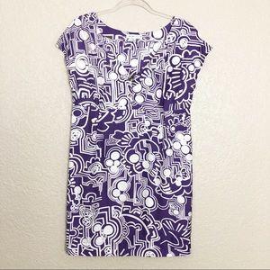 EUC See by Chloe abstract print silk shift dress